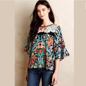 Anthropologie Maeve Folkart Kimono Floral SILK Top